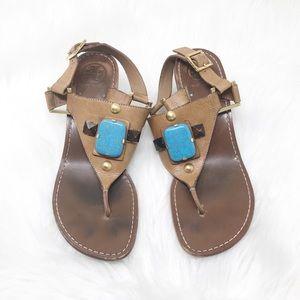 Tory Burch Brown Kitten Heel Sandals 8.5